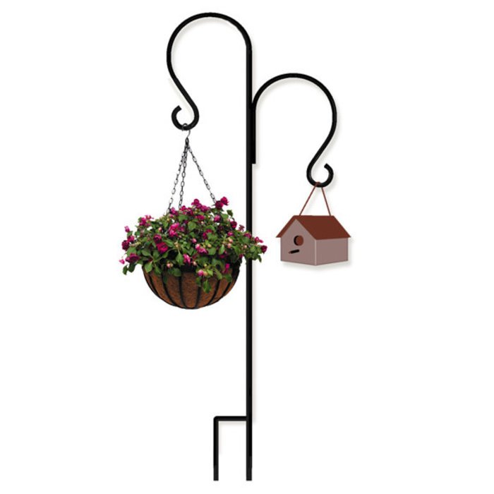 "Shepherd Hook Tall Double 7'4"" Black Metal 5/8"" Thick"
