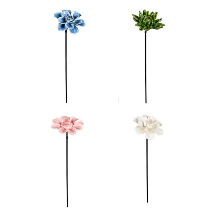 "Plant Pick 10"" Ceramic Flower Asst"