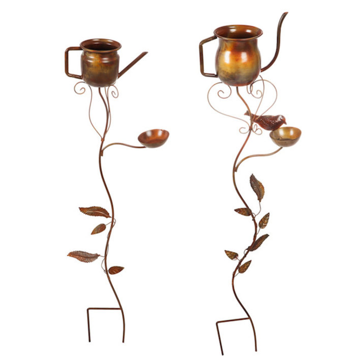 Garden Stake Watering Can Artisan Copper Finish Metal Asst