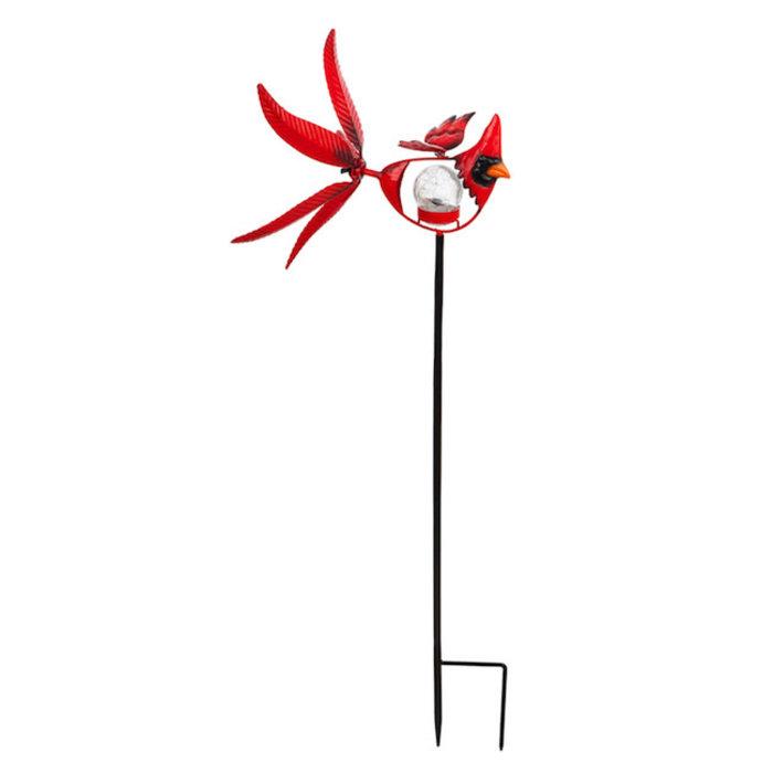 "Wind Spinner / Garden Stake Cardinal/Bird Solar 38""H"