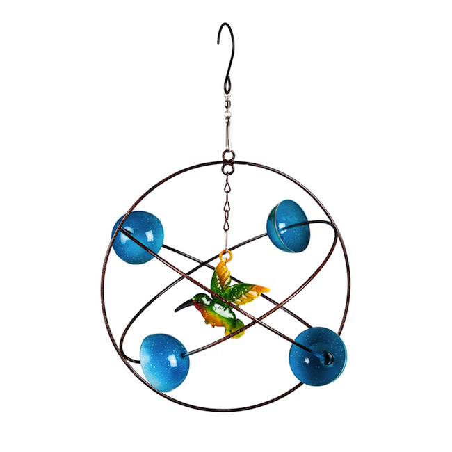 Hanging Wind Twirler Blue Circles Hummingbird