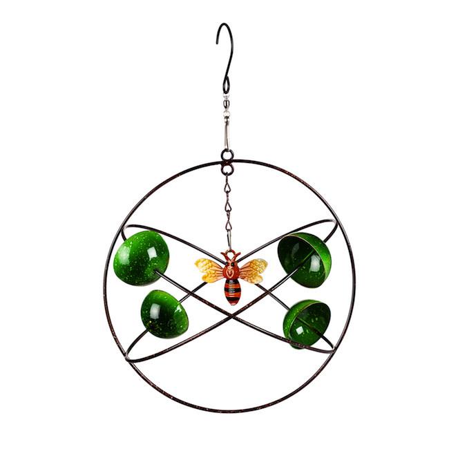 Hanging Wind Twirler Green Circles Bee