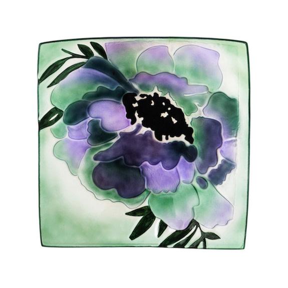 "Birdbath Top Purple Geranium Square Glass 16.5"""