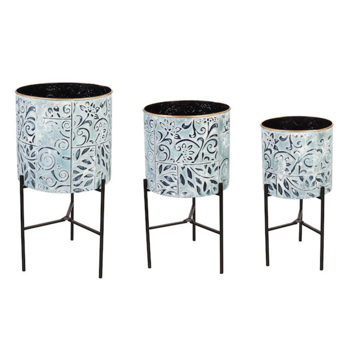 Pot Painted w/Stand Sml 8x8 Metal