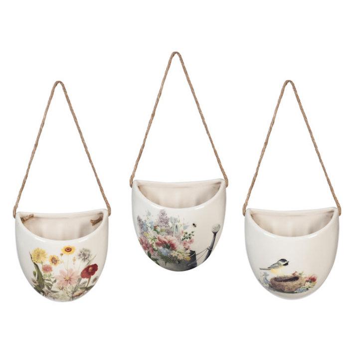 Pot Wall Planter Bird/Btrfly/Flwr Ceramic Asst