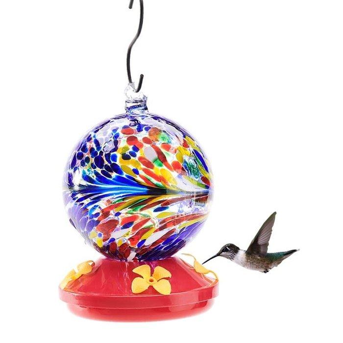 Bird Feeder Hummingbird Glass Orb/Ball w/Feeding Tray 4x6 Muti