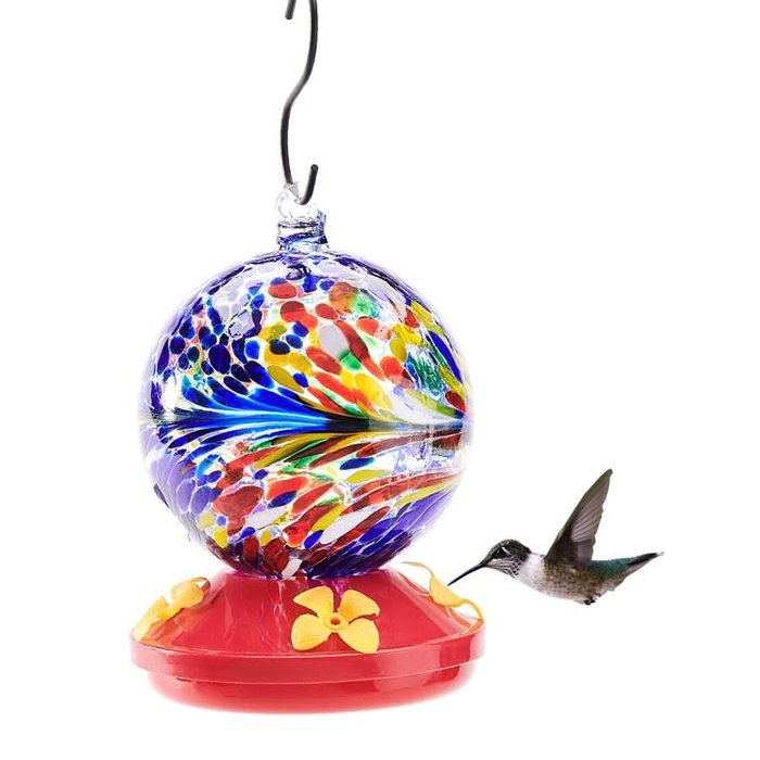 Birdfeeder Hummingbird Glass Orb/Ball w/Feeding Tray 4x6 Muti