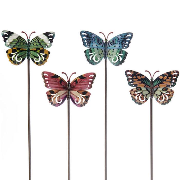 "Plant Pick / Garden Stake Butterfly Asst Metal 23""H"