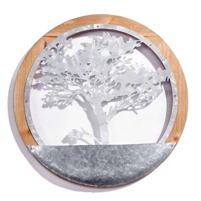 """Wall Planter Tree of Life 16"""" Metal/Wood"""