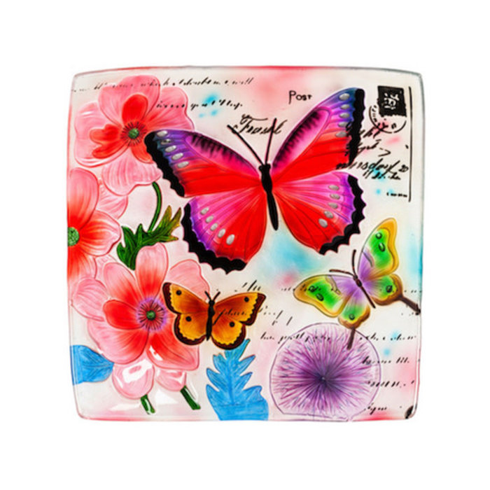 "Birdbath Embossed Square Butterfly 16.5"" Glass Hand Painted"