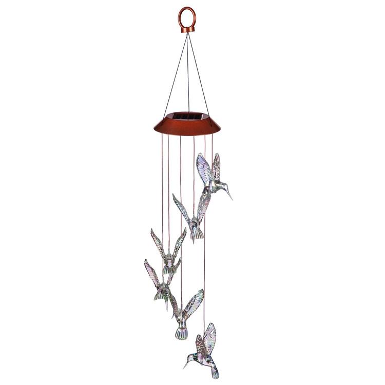 """Hanging Mobile Iridescent Hummingbird Solar Plastic 26"""""""