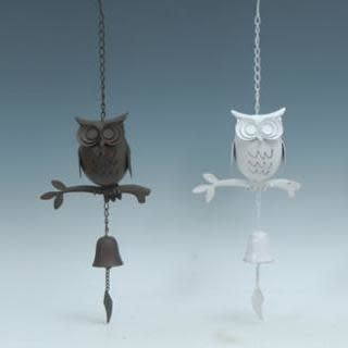Wind Chime / Bell Owl on Branch  8x25 Asst Metal