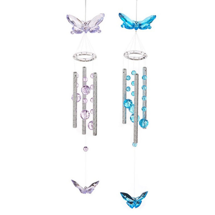 """Wind Chime Butterfly 17""""H Asst Metal/Acrylic"""