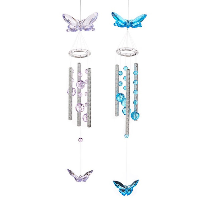 "Wind Chime Butterfly 17""H Asst Metal/Acrylic"