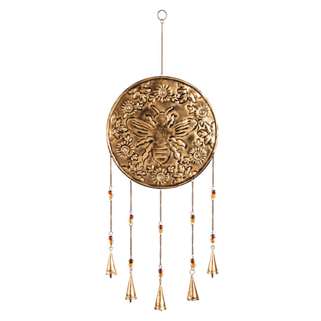 Wind Chime Artisan Gold Embossed Bee
