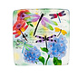 "Birdbath Top/Dish Embossed Square Dragonfly 16.5"" Glass Hand Painted"