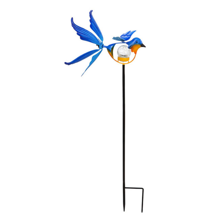 "Wind Spinner / Garden Stake Blue Bird Solar 38""H"
