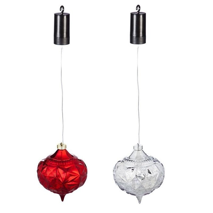 "6"" LED Hanging Ornament Red / Silver"