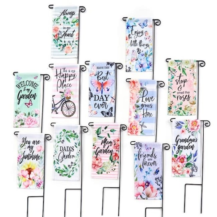 Plant Pick / Garden Stake Flag  Sayings w/Flowers  Asst
