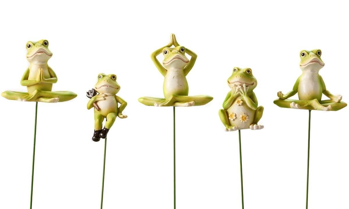 "Plant Pick / Garden Stake Frog Asst Resin/Metal 11""H"