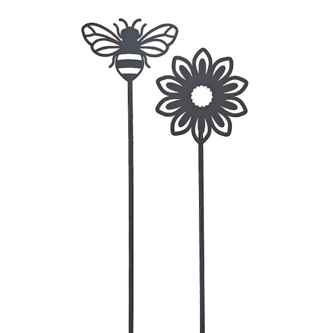 "Plant Pick / Garden Stake Bee/Flower Asst Metal 22""H"