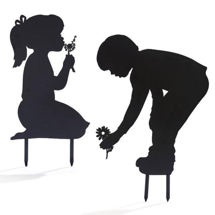 "Garden Stake Silhouette Boy/Girl w/Flower Asst Metal 26-29""H"