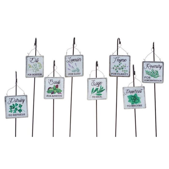 "Plant Pick / Herb Marker Asst Metal 18"" H"