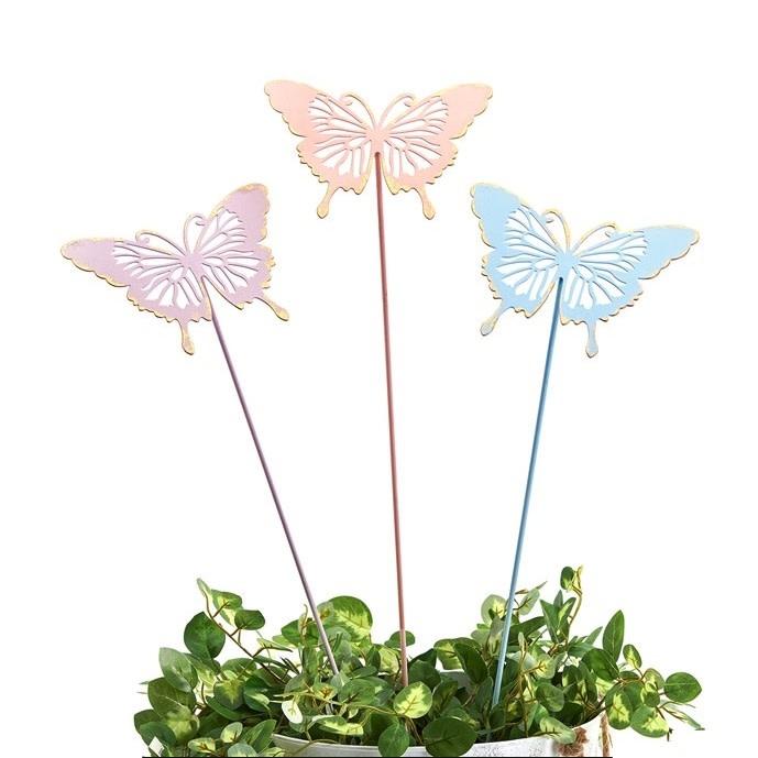 "Plant Pick / Garden Stake Butterfly Asst Metal 21""H"