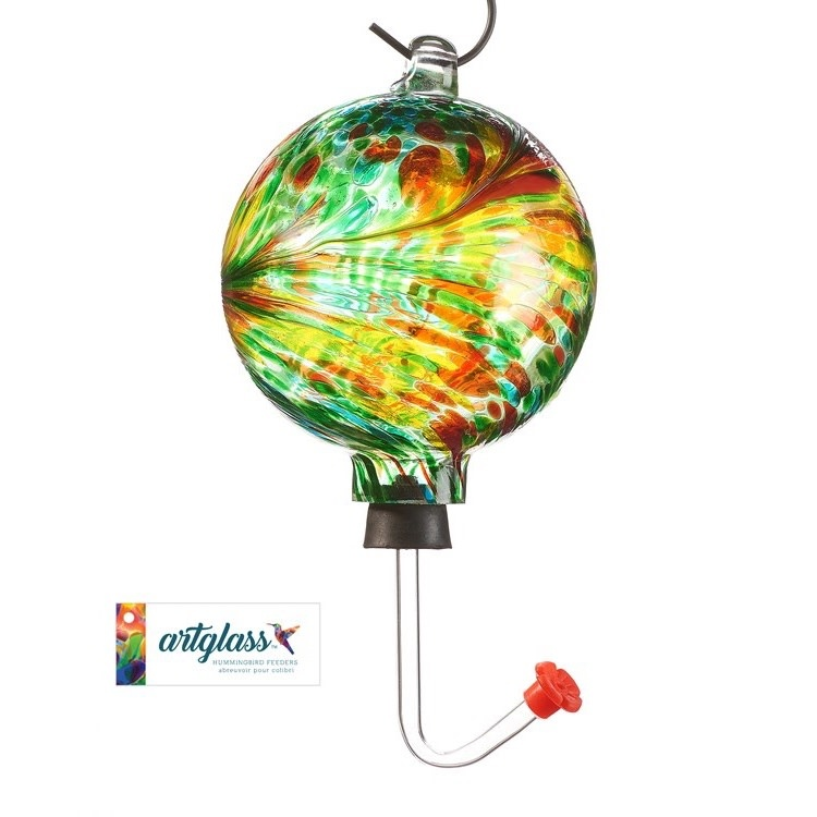 Birdfeeder Hummingbird Marble Design Glass Orb/Ball 4x12 Green/Yellow