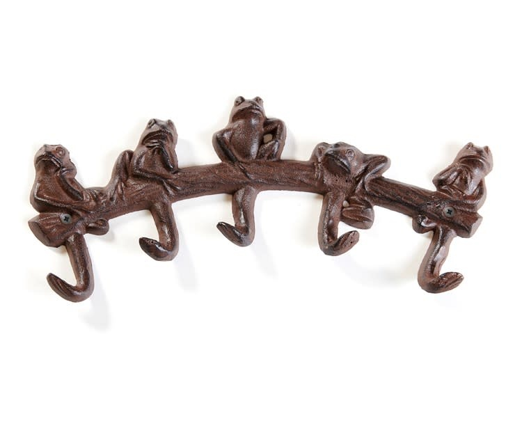 Wall Hook Frogs on Branch 5-Hook Cast Iron