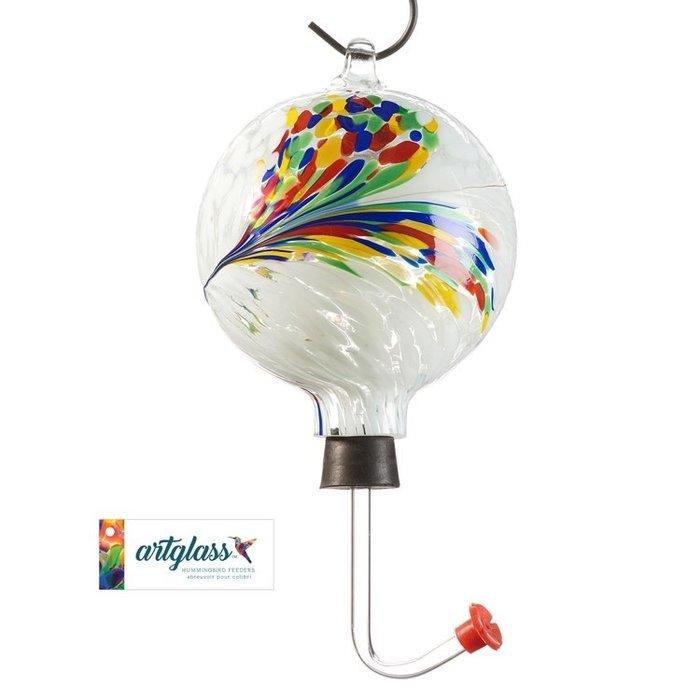 Bird Feeder Hummingbird Feather Design Glass Orb/Ball 4x12 Multi