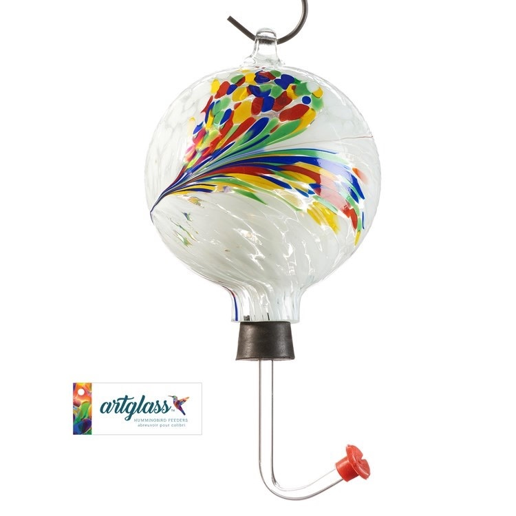 Birdfeeder Hummingbird Feather Design Glass Orb/Ball 4x12 Multi