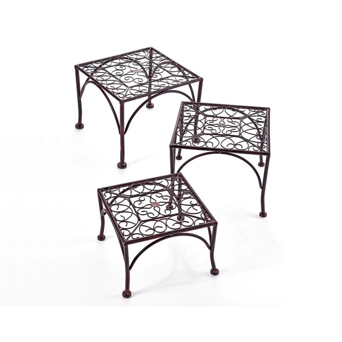 Sq Iron Plant Stand/Riser Med 12X8