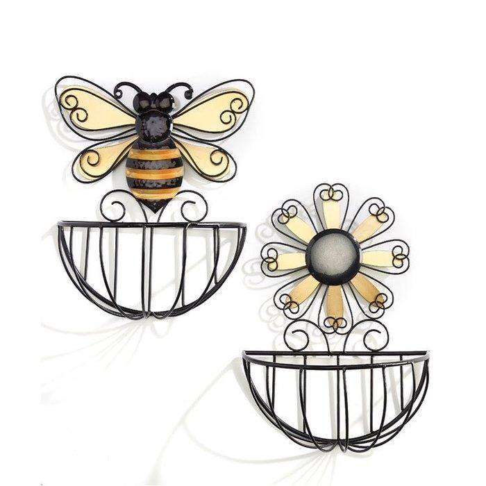 Wall Basket/Planter Bee/Flower Asst 5x11x14 Metal