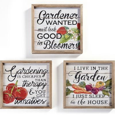 Wall Plaque Gardening 9x9 Wood Asst
