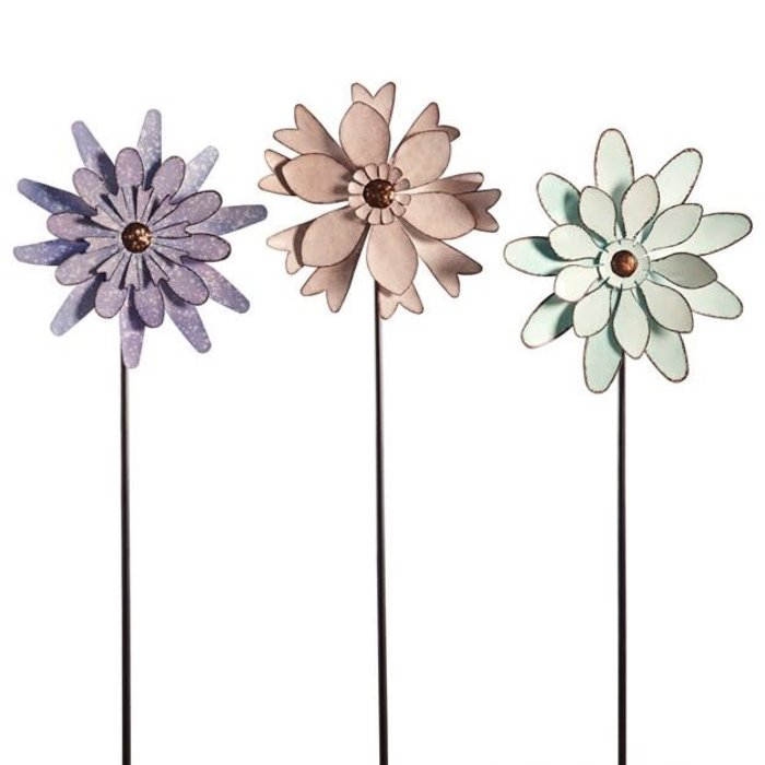"Wind Spinner / Garden Stake Flower 38""h Metal Asst"