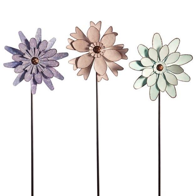 """Wind Spinner / Garden Stake Flower 38""""h Metal Asst"""