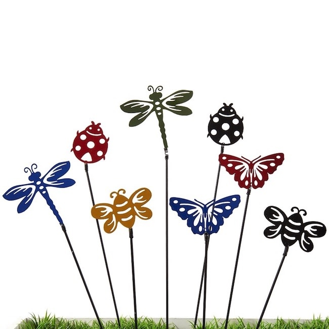 "Plant Pick / Garden Stake Ladybug/drgfly/Bee Asst 18""H"