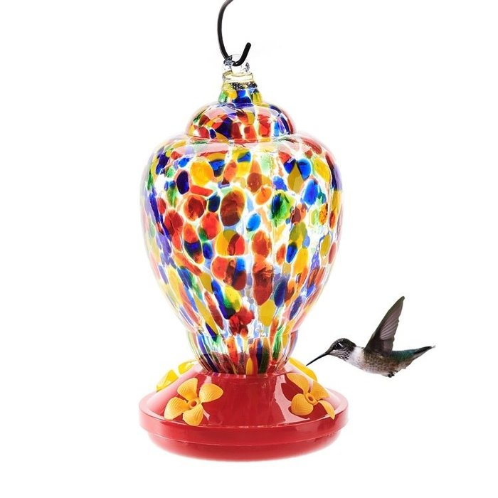 Birdfeeder Hummingbird Glass w/Feeding Tray 8x4 Multi