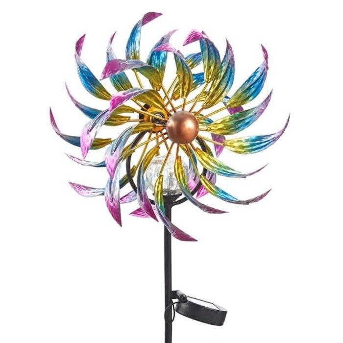 """Wind Spinner / Garden Stake Kinetic Spinning Solar 52""""H"""