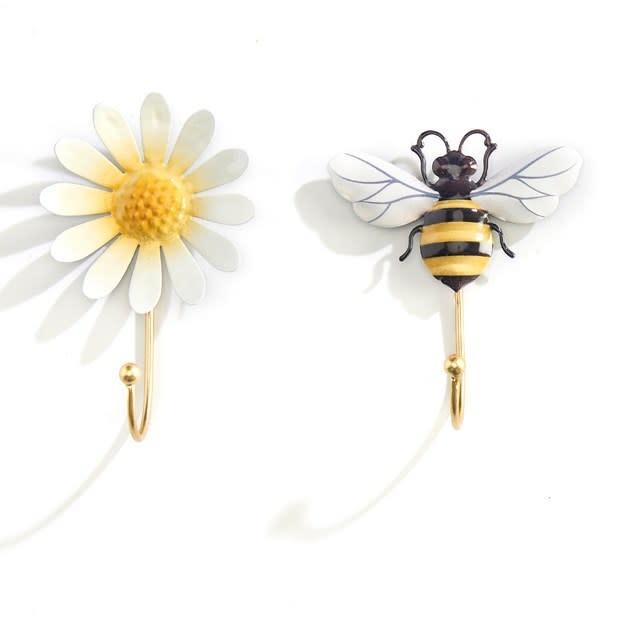 Wall Hook Bee/Daisy 1-Hook Asst Iron 4x5