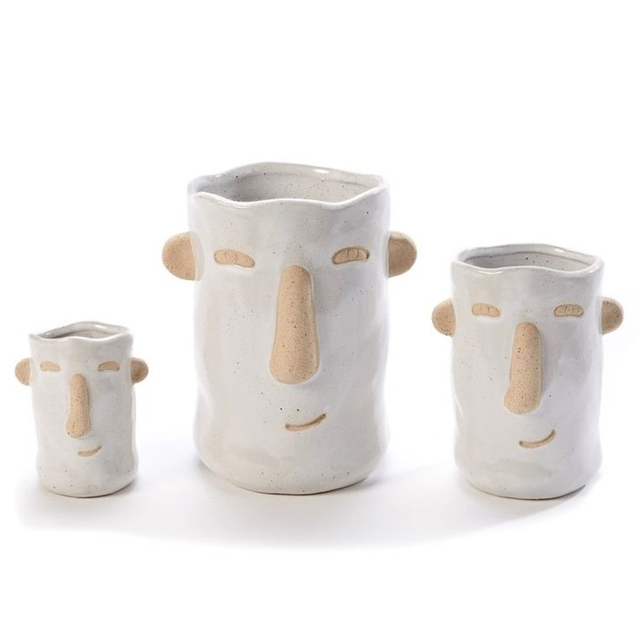 "Pot Tall Face Planter w/Ears Sml 3.5"" White"