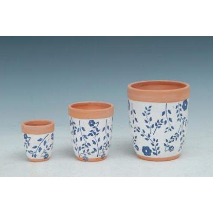 Pot Rounded Taper White w/Blue Flower Med 4x5 Painted Terracotta