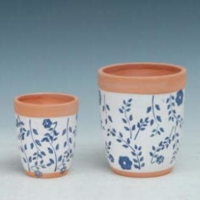 Pot Rounded Taper White w/Blue Flower Sml  2.75x3 Painted Terracotta