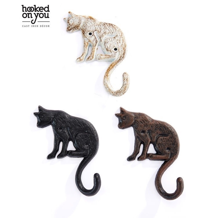 Wall Hook Cat Design 1-Hook 4x5 Cast Iron Asst