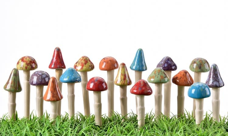 "Plant Pick / Garden Stake Toadstool Asst 4""H"