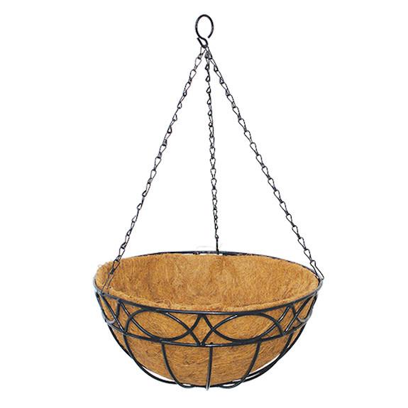"12"" Hampton Hanging Basket w/Coco Liner Border"