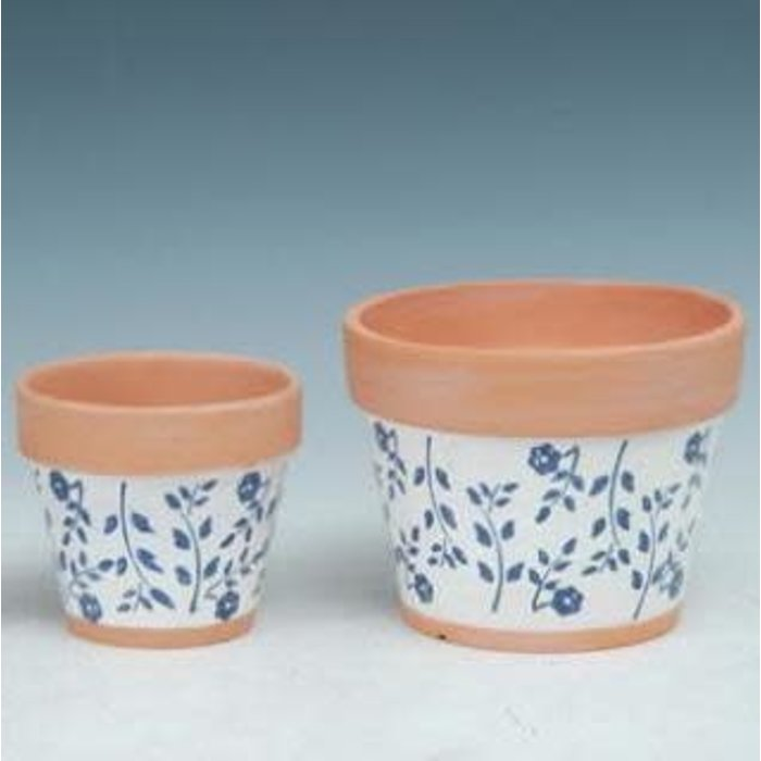 Pot Taper White w/Blue Flower Lrg 7x6 Painted Terracotta