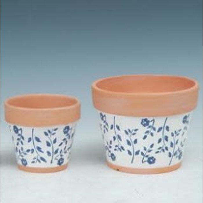 Pot Taper White w/Blue Flower Med 5x5 Painted Terracotta