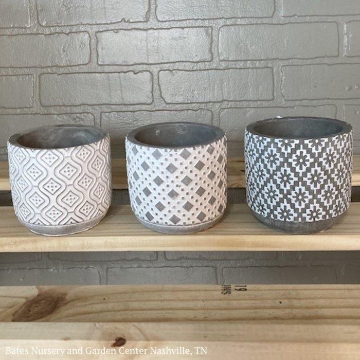Pot 4x4 Asst Decor Cement